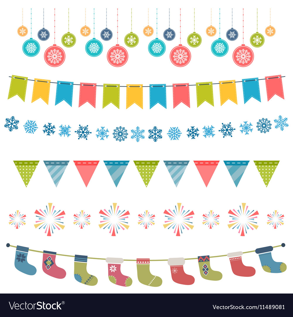 Christmas flags and garland set vector image