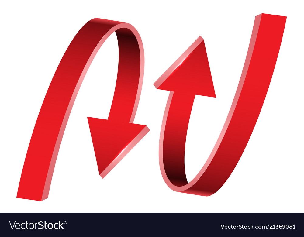 Double red arrow 3d curve direction on white