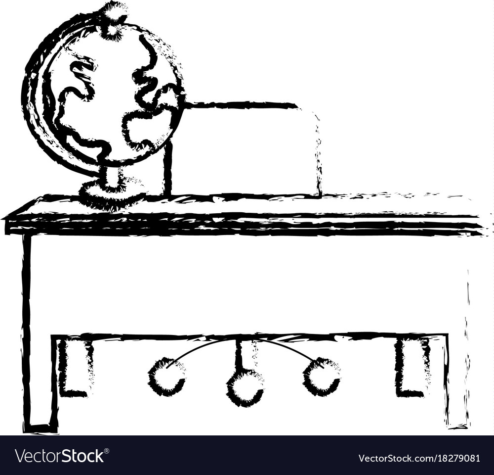 Figure Wood Desk With Chair And Notebooks Tools Vector Image