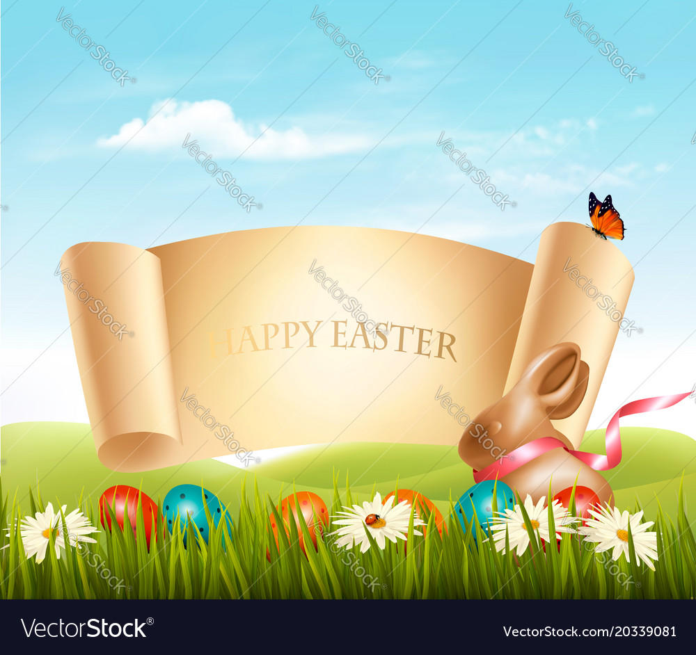 Happy easter background eggs in a basket