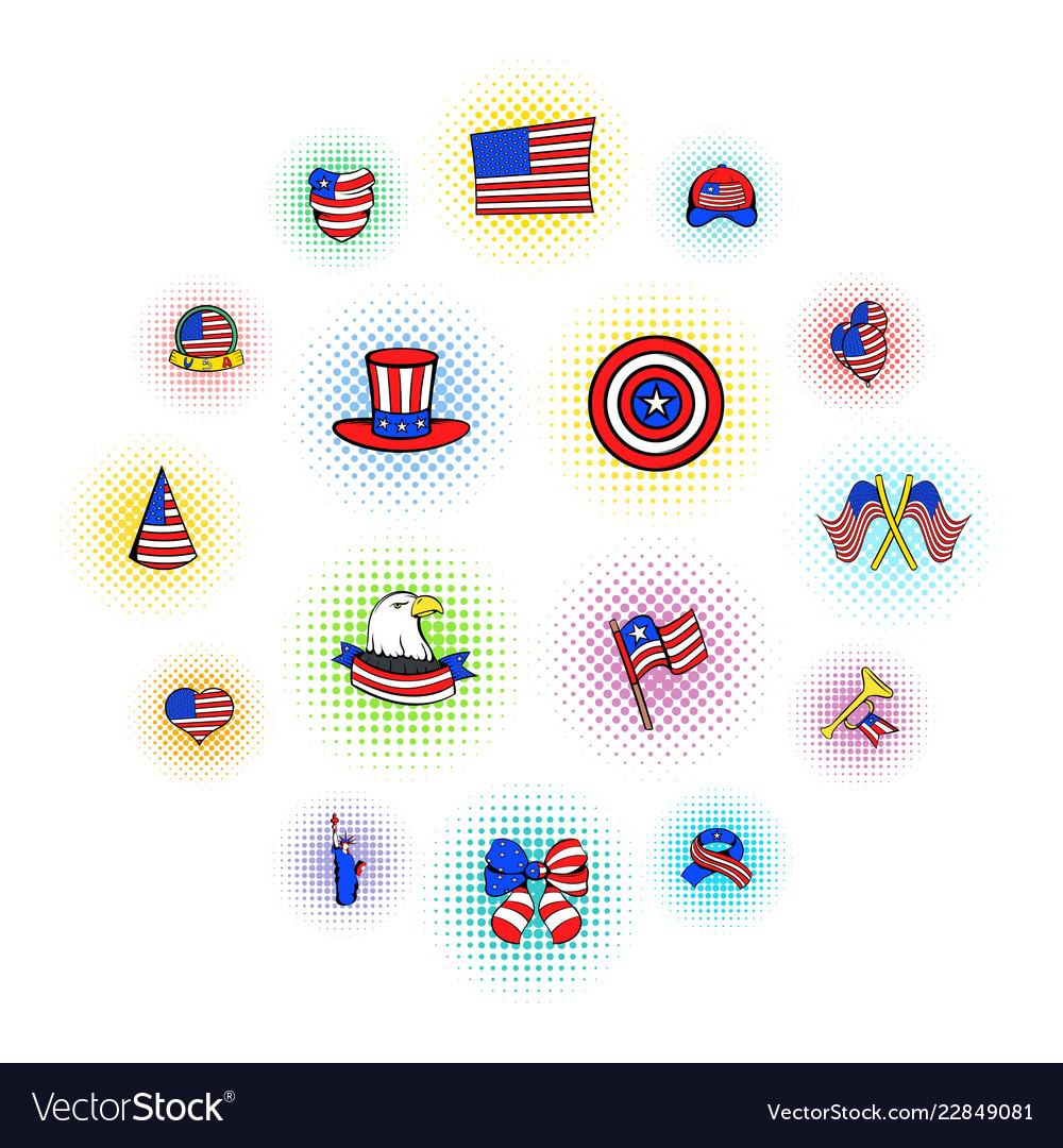 Independence day icons comics style
