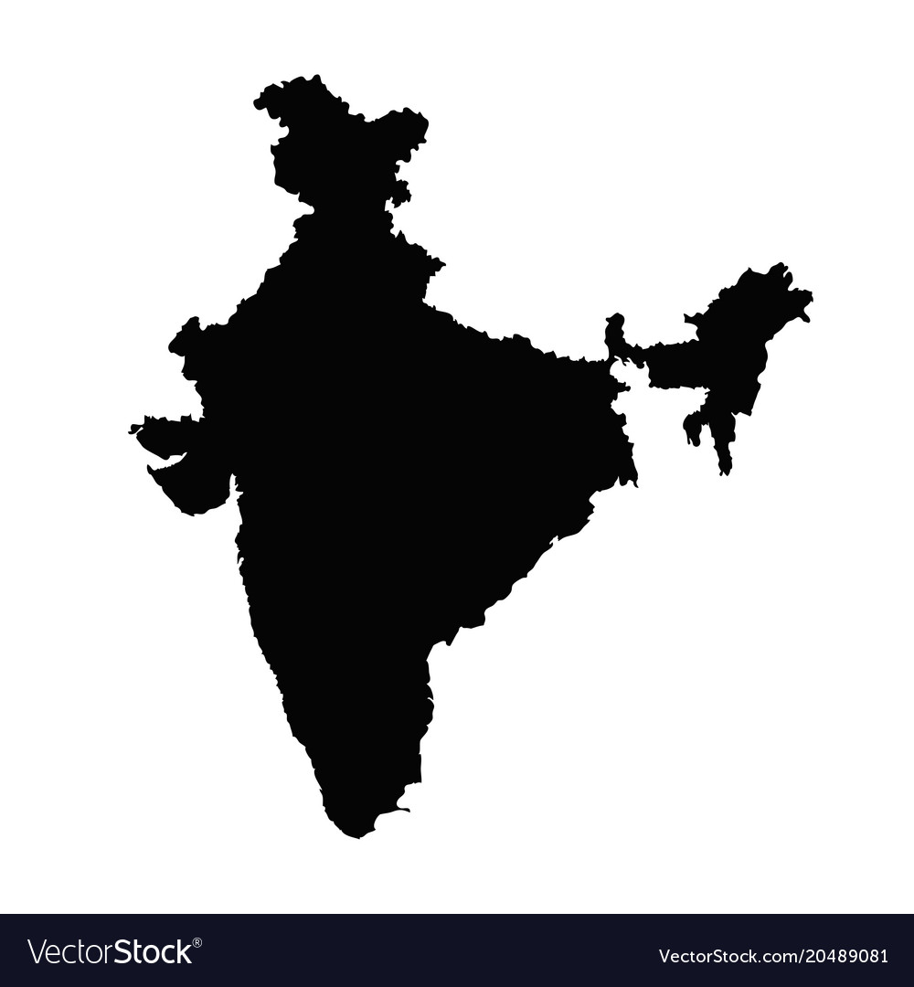 India Map Vector India map silhouette in black on a white Vector Image