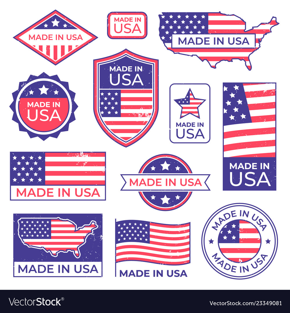 Made in usa logo american proud patriot tag
