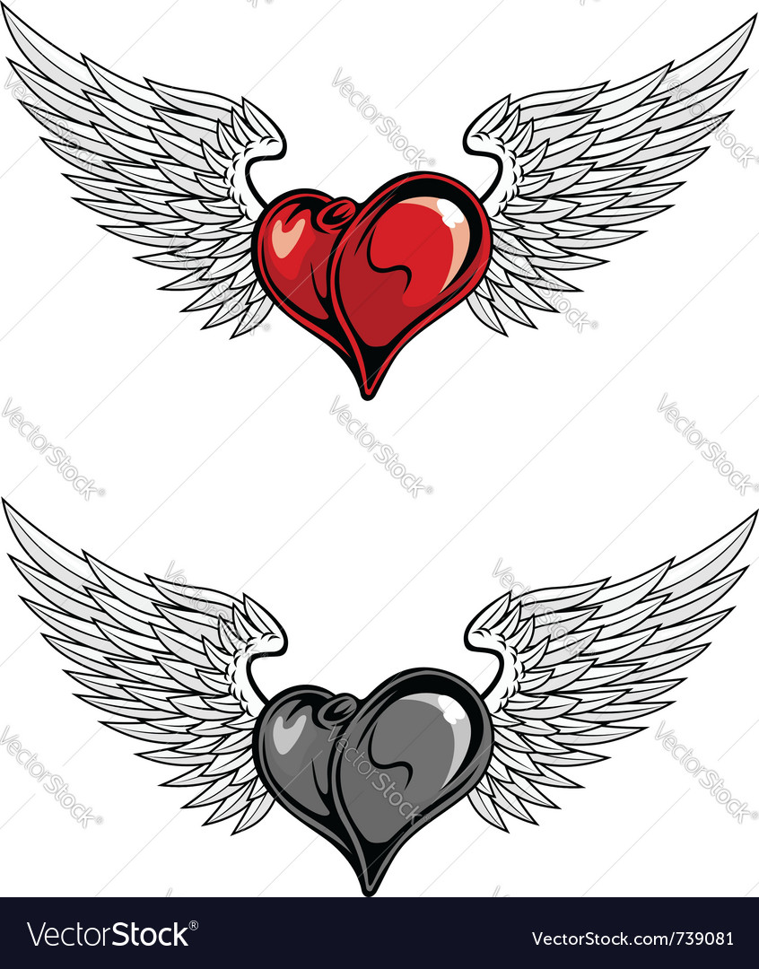 Medieval heart with wings vector image