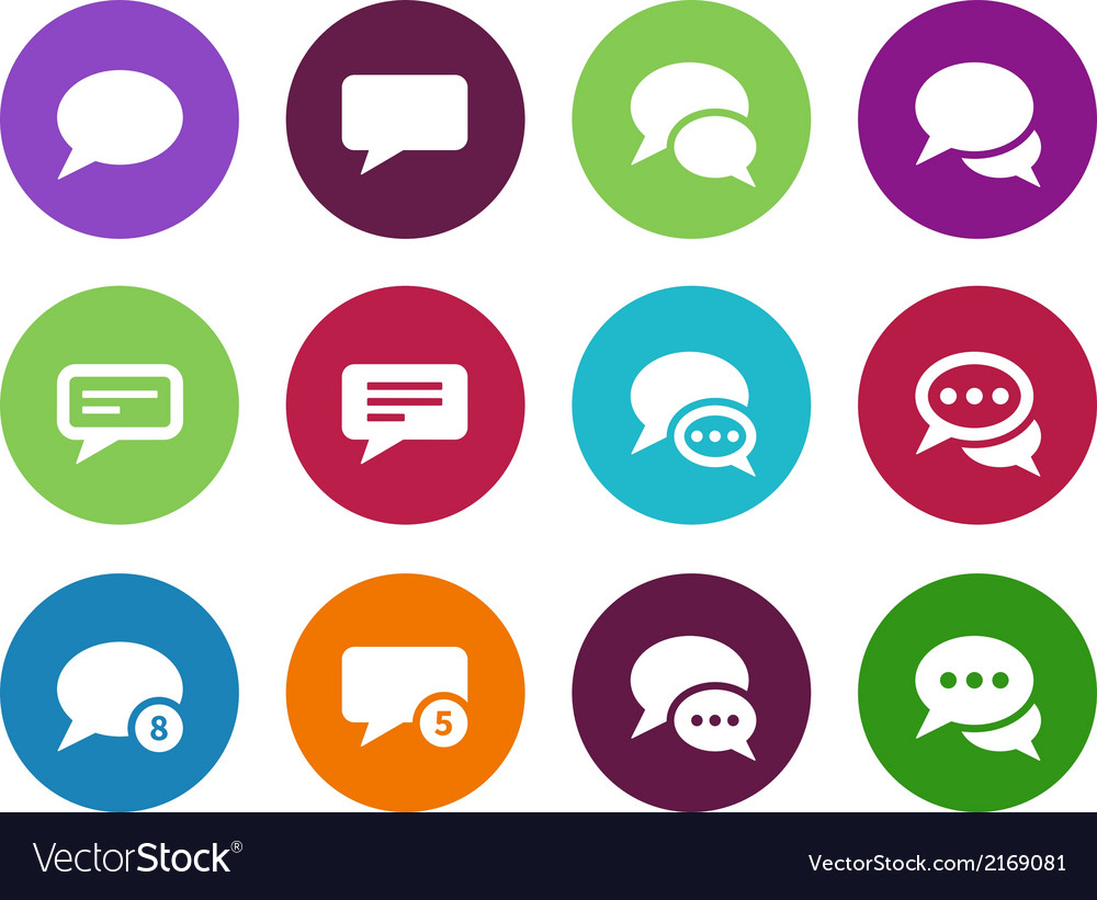Message bubble circle icons on white background