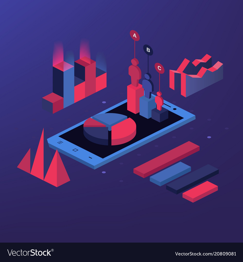 Mobile report analysis tool app flat 3d isometry