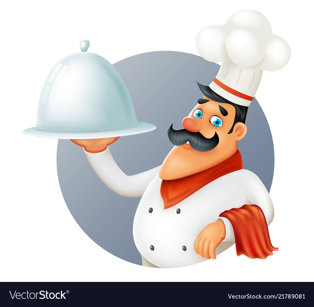 Restaurant chef cook serving food 3d cartoon
