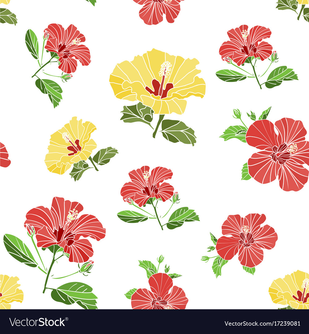 Seamless pattern of painted flowers fabric