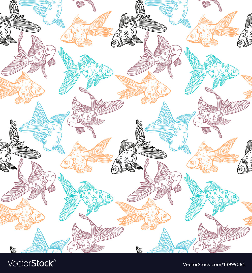 Seamless pattern with image of a fishes