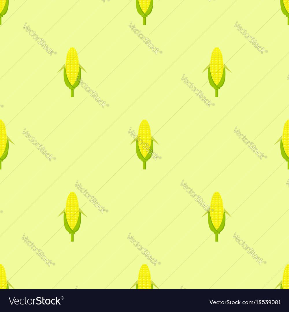 Seamless pattern yellow corn in flat style