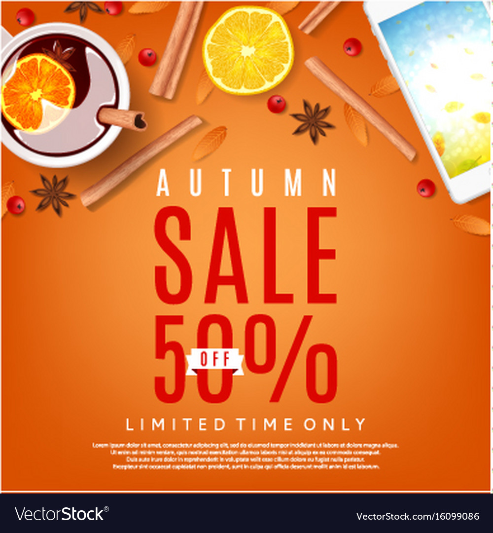Autumn sale orange background vector image