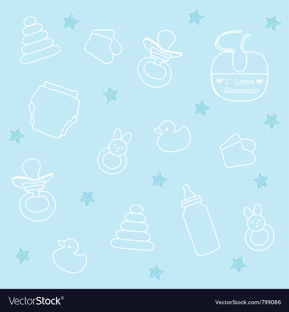 baby boy elements blue background royalty free vector image