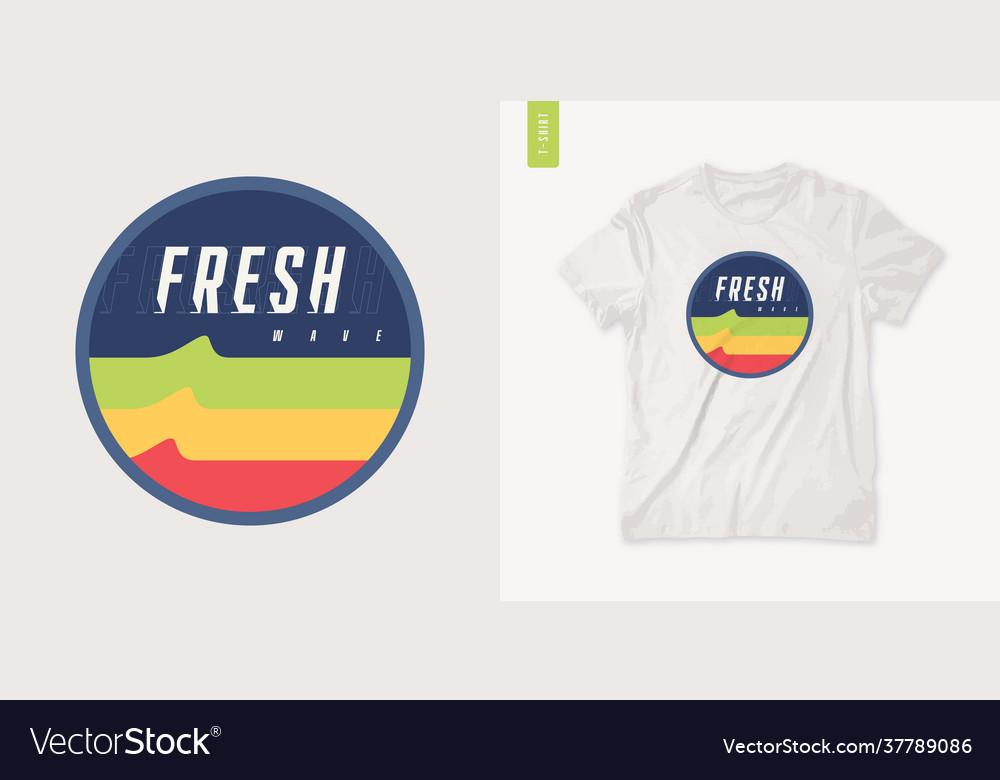 Fresh wave graphic summer t-shirt design retro