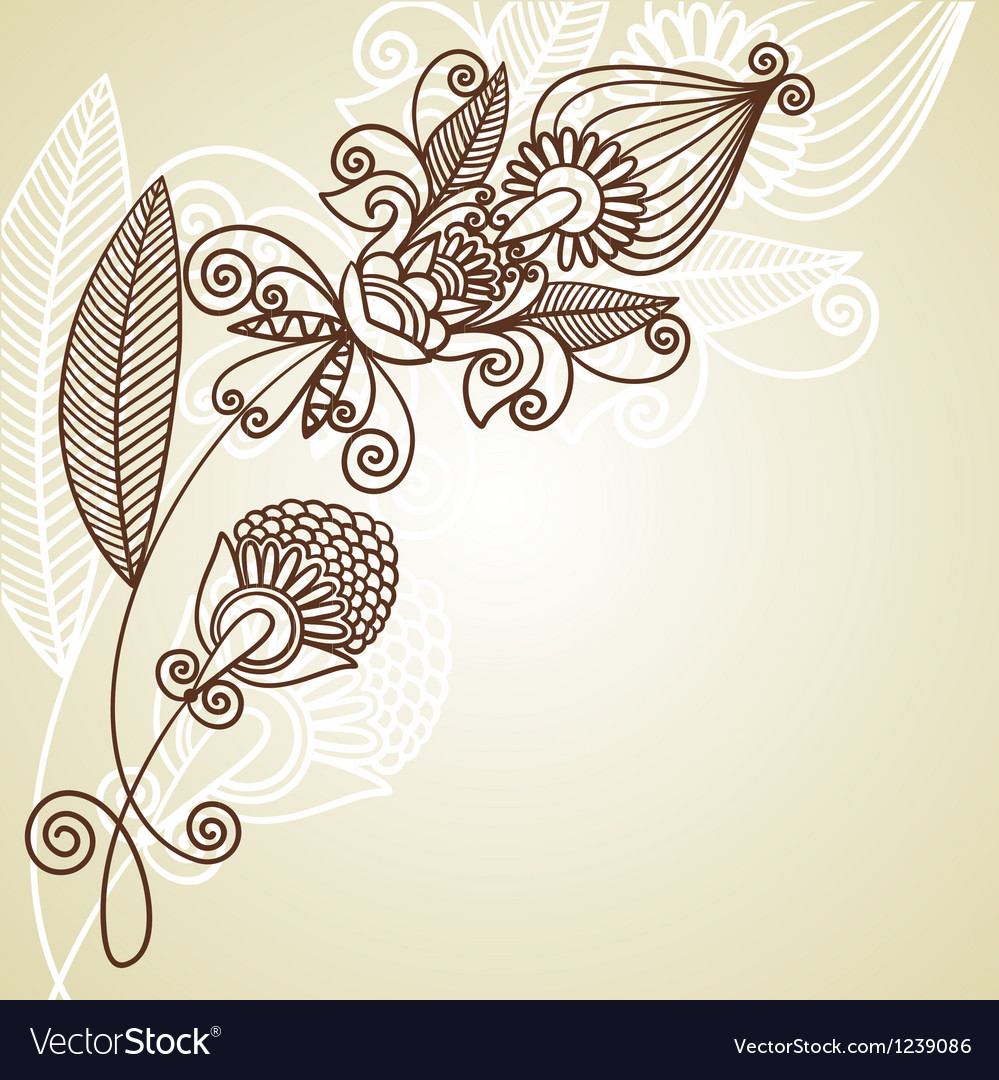 Hand draw ornate floral pattern