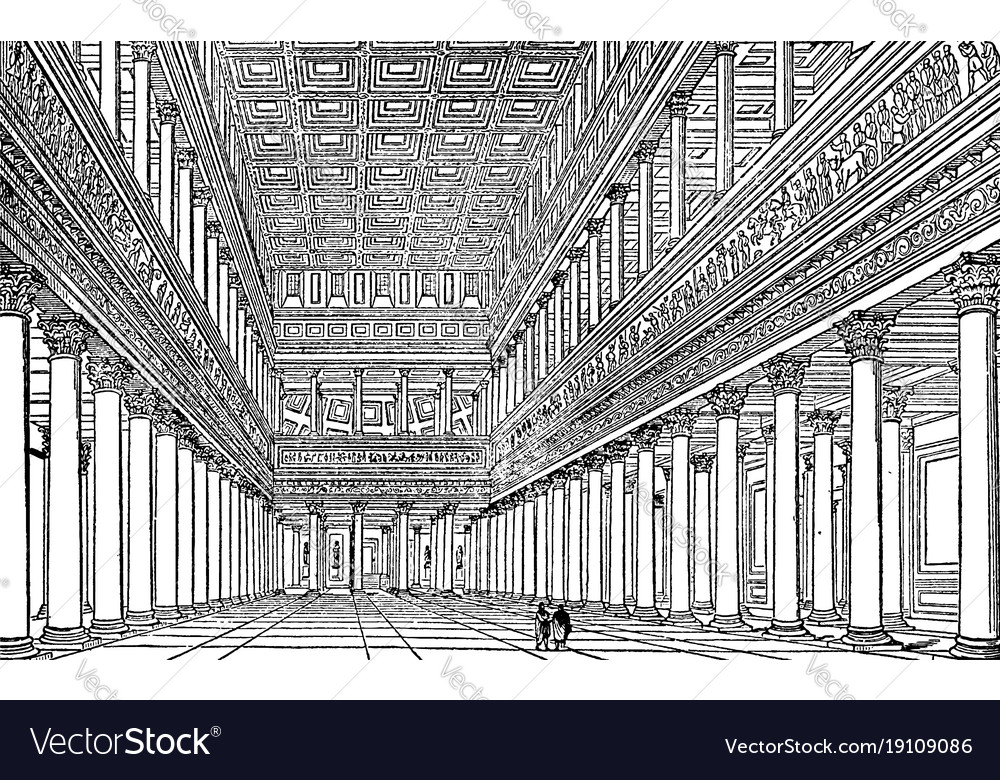 Interior of trajans bascilica as restored by