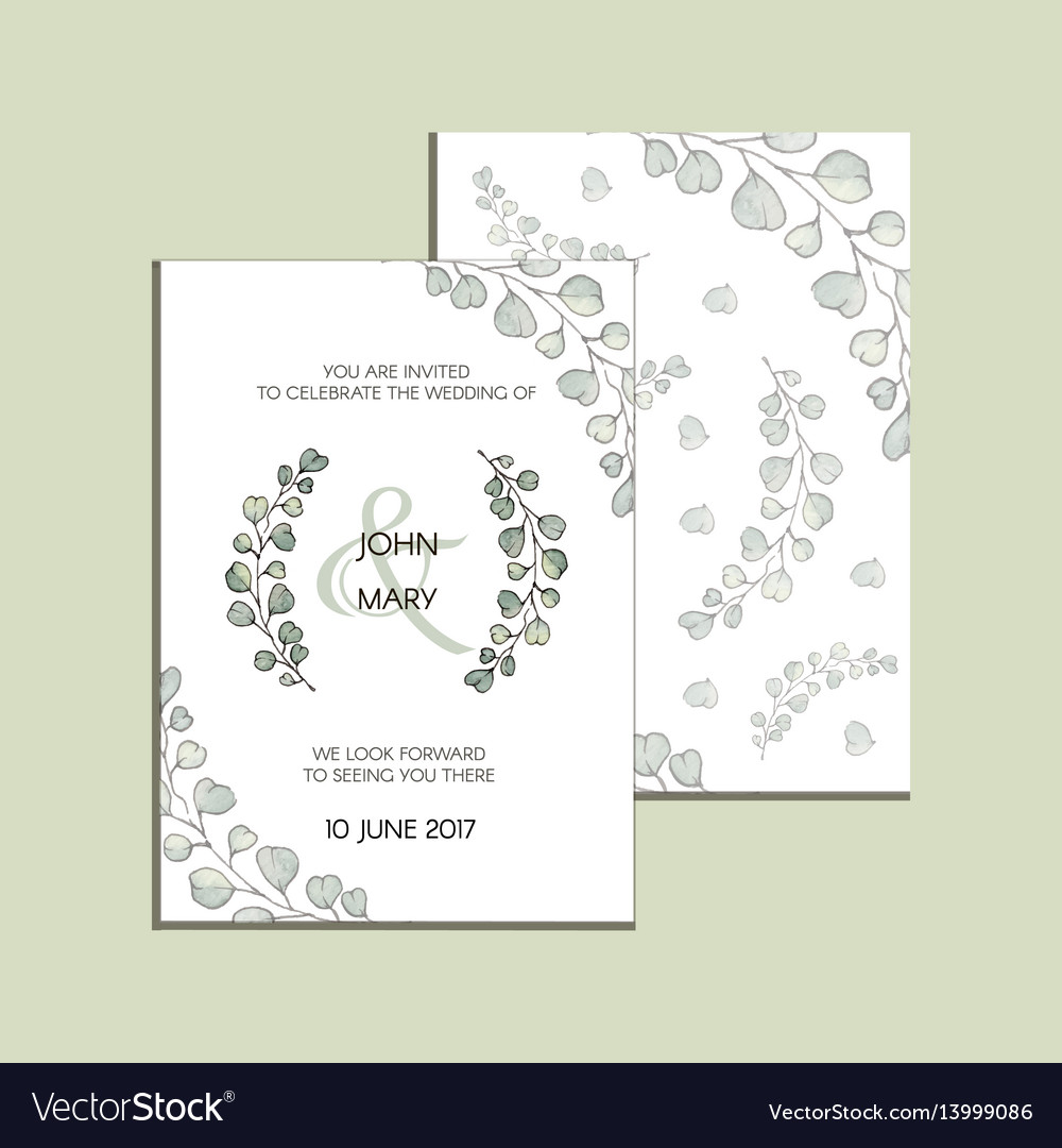 Invitation with eucalyptus leaves modern