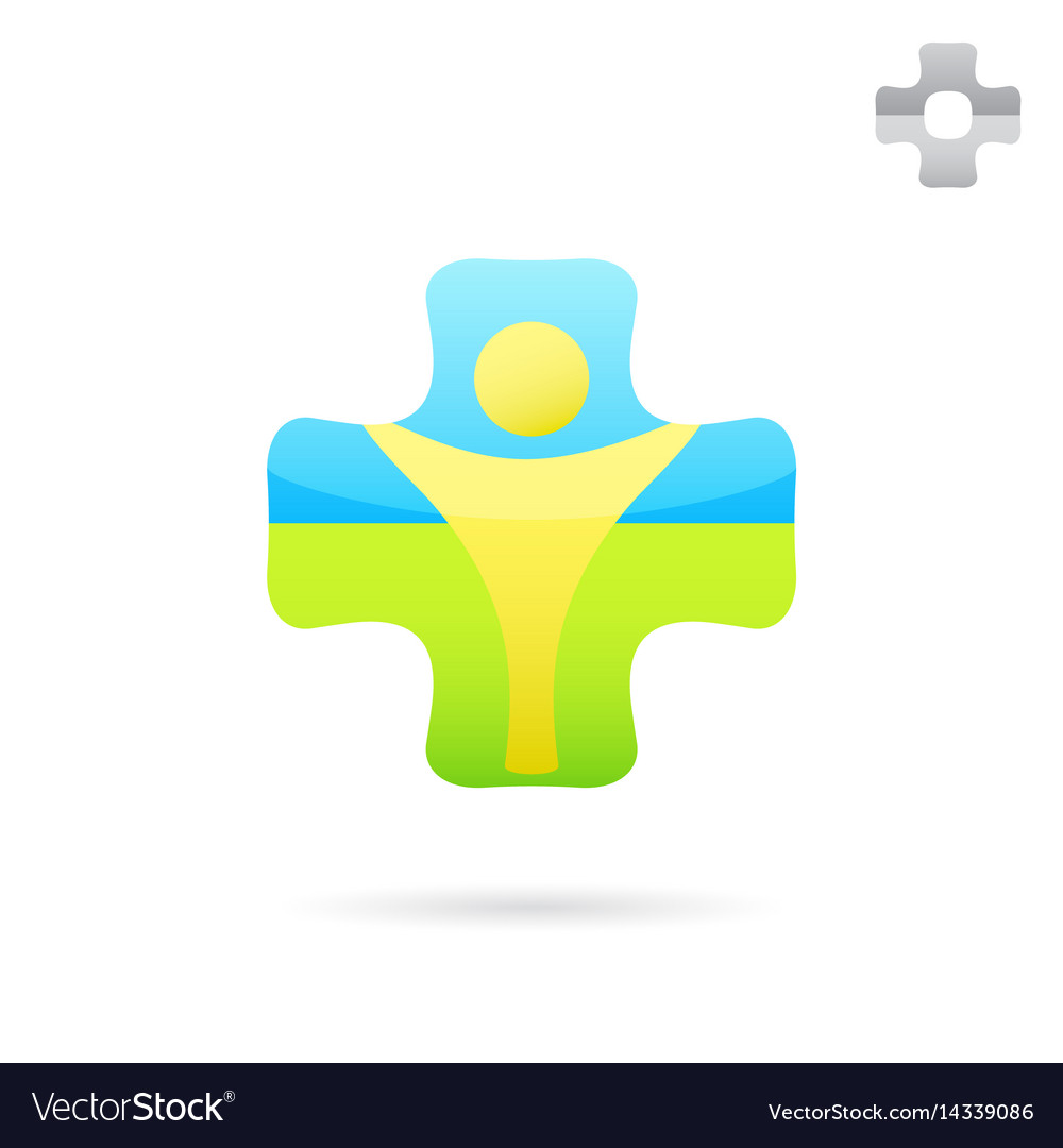 Medical cross logo with human body inside