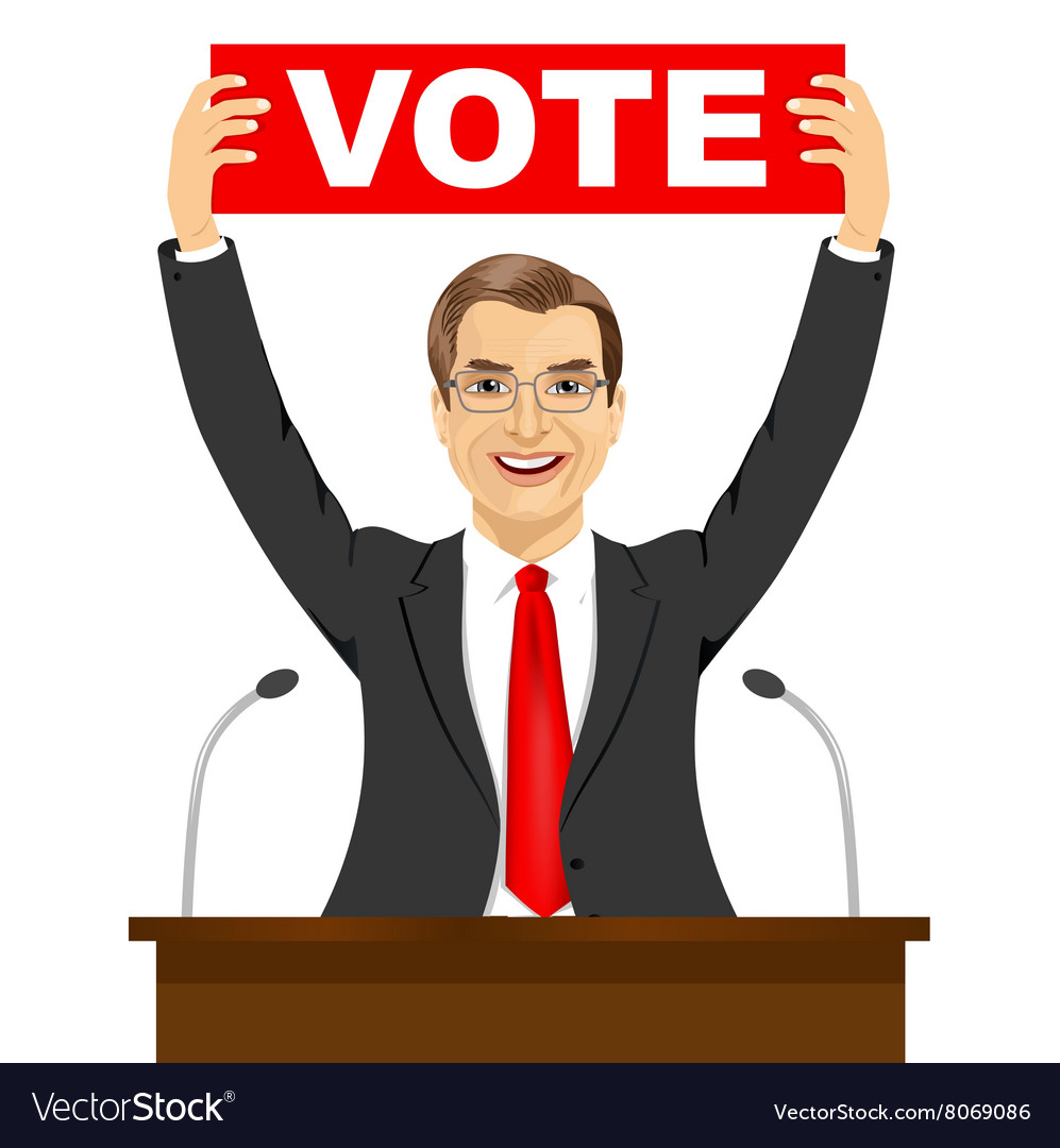 politician man holding a vote banner royalty free vector