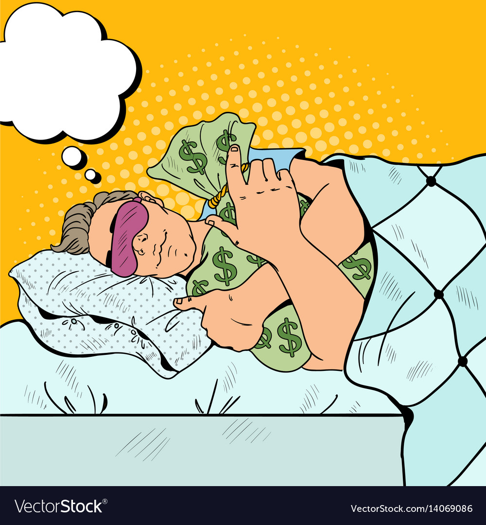 Pop art businessman sleeping with money bags