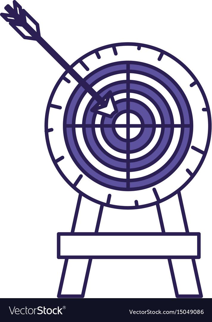 Purple line contour of arrow on target vector image