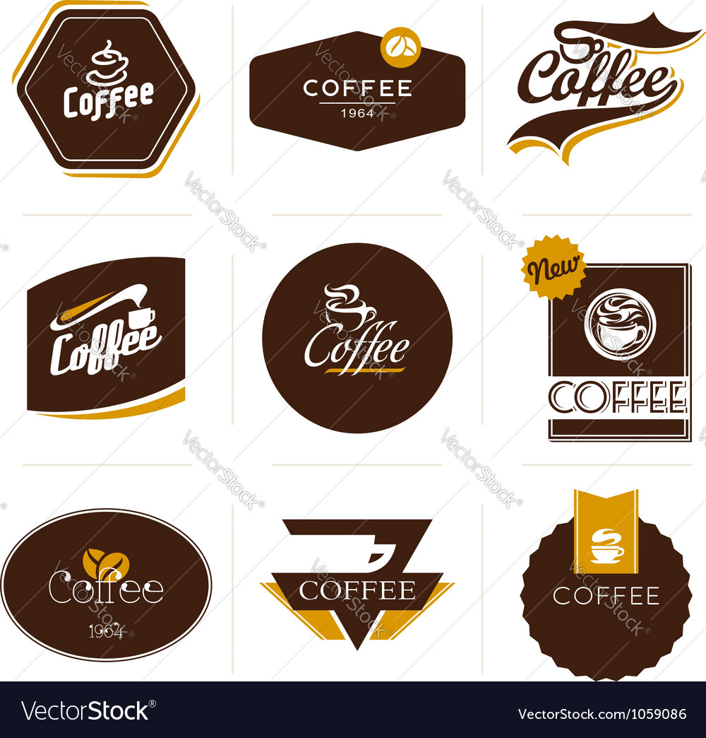 Retro styled coffee labels badges