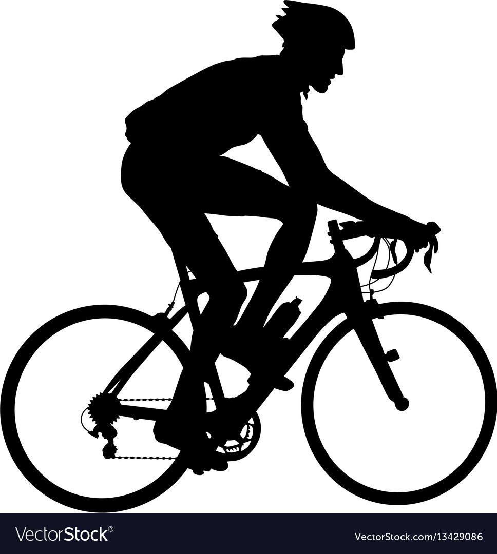 Silhouette of a cyclist male