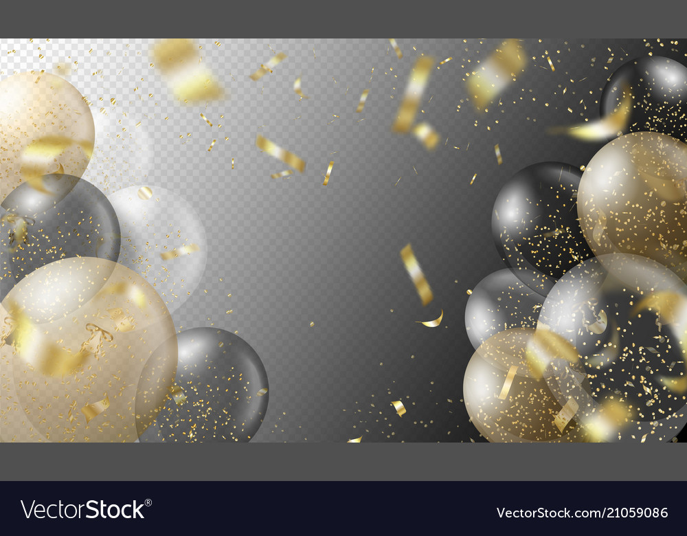 Transparent realistic balloons and golden confetti