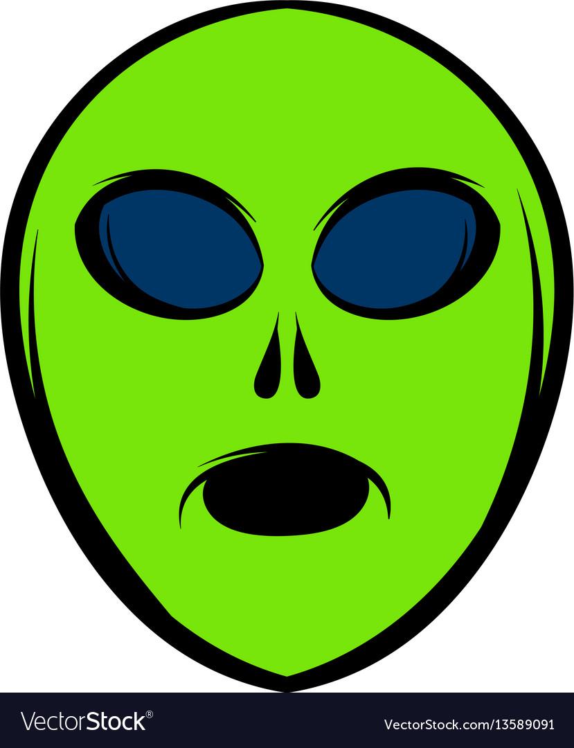 Alien green head icon icon cartoon