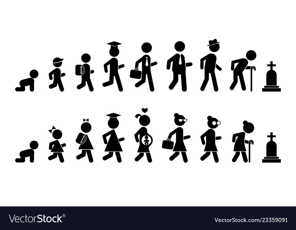 All ages men and women flat icon