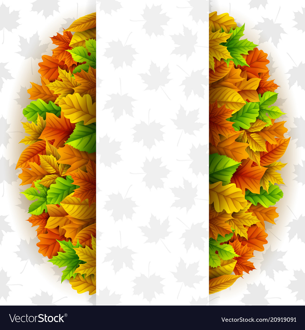Autumn leaves circle with blank banner