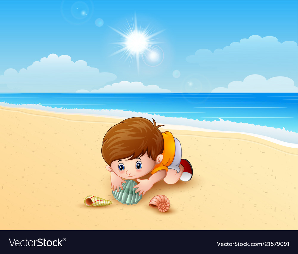 Animated Pictures Of Seashells boy playing a sea shells at the beach