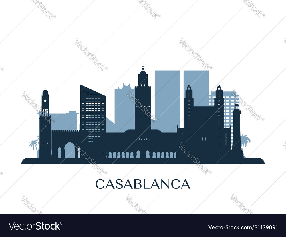 Casablanca skyline monochrome silhouette