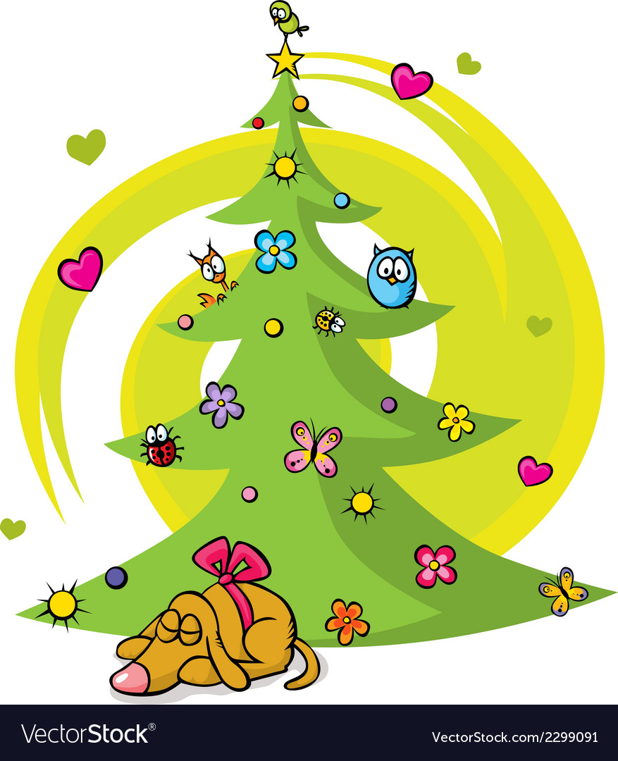 Christmas tree with dog bird flower star and