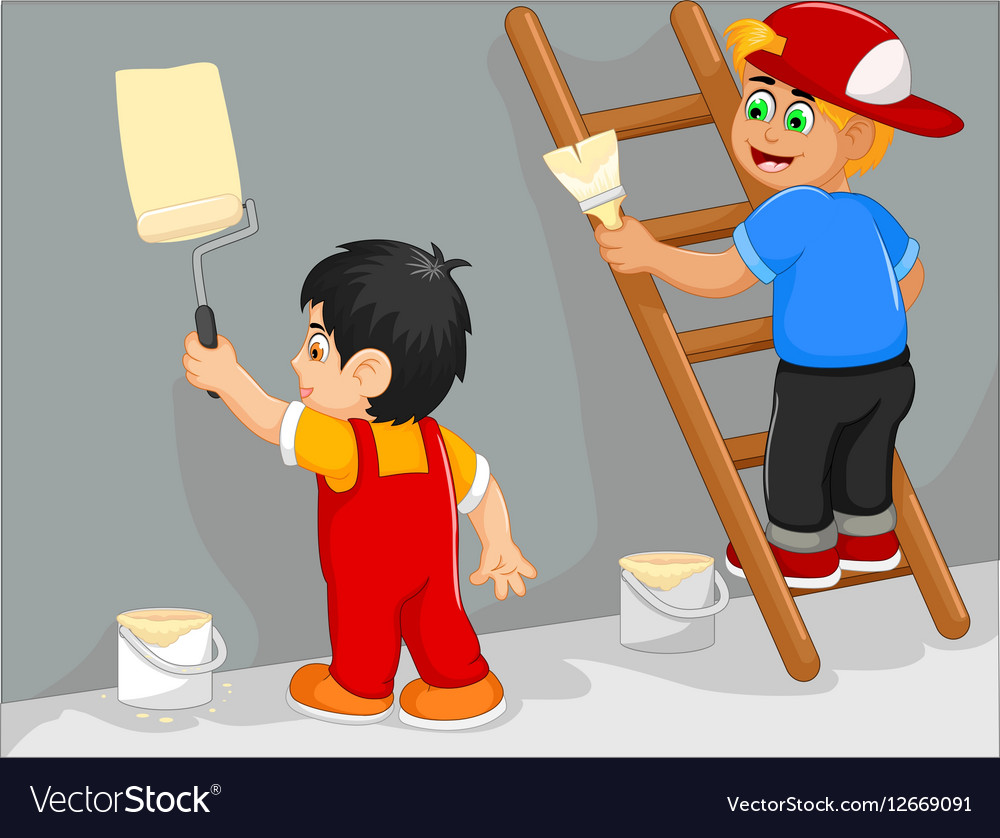 Funny Two Little Boy Cartoon Painting The Wall