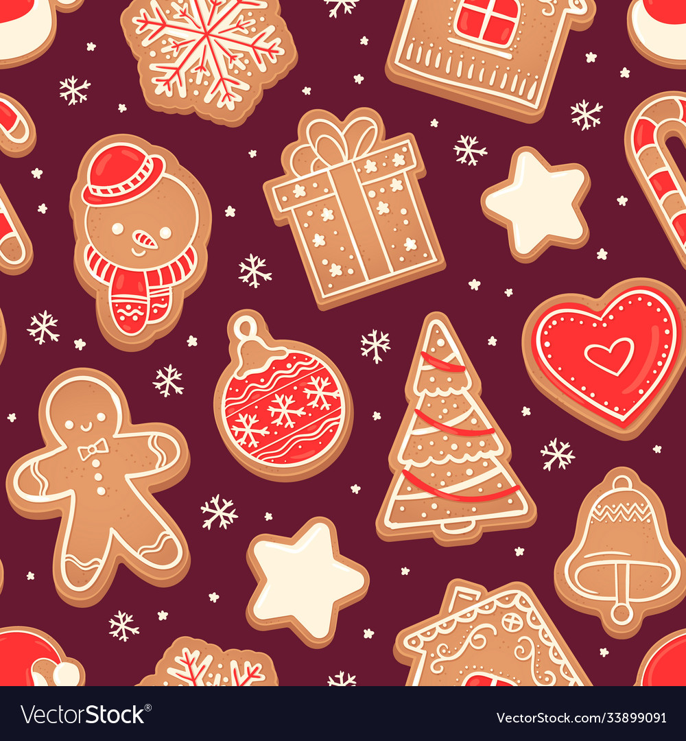 Gingerbread seamless pattern xmas cookies red vector