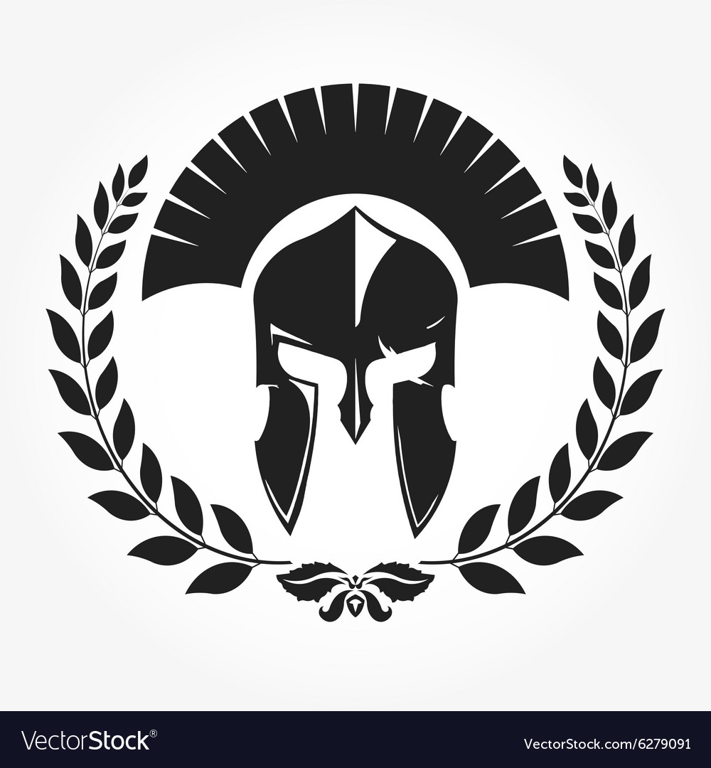 Gladiator knight icon with laurel wreath