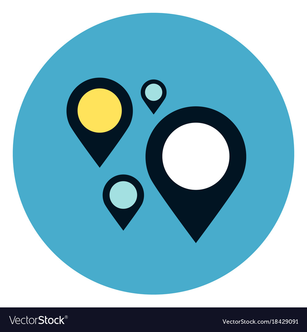 Gps navigation pins icon on round blue background