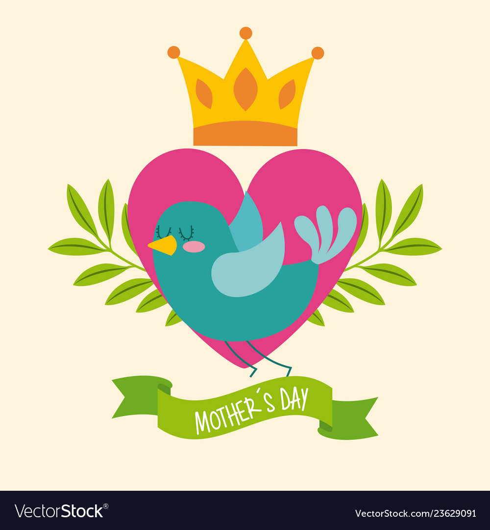 Green bird heart crown leaves ribbon mothers day