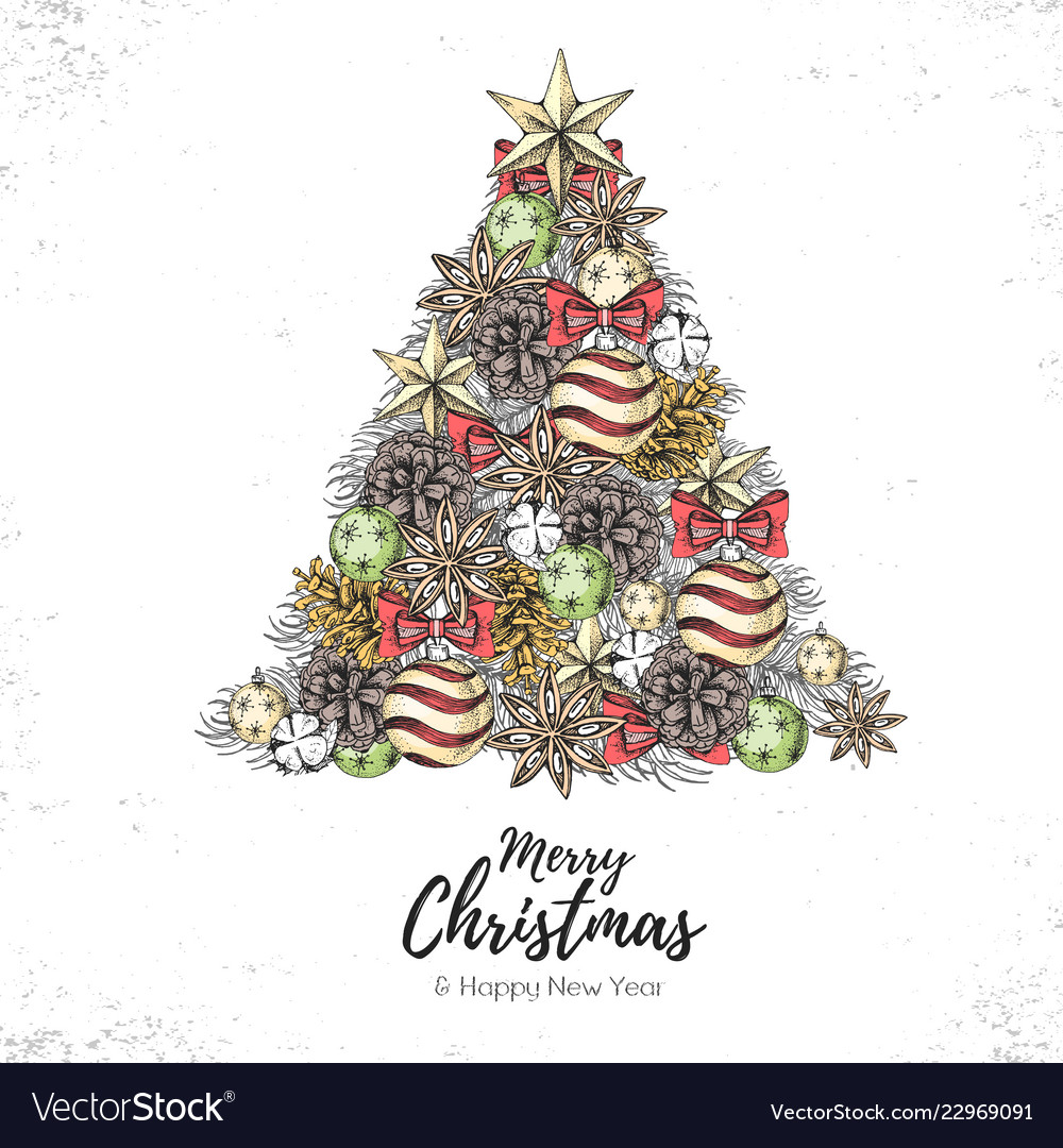 Holiday decorative christmas tree Royalty Free Vector Image