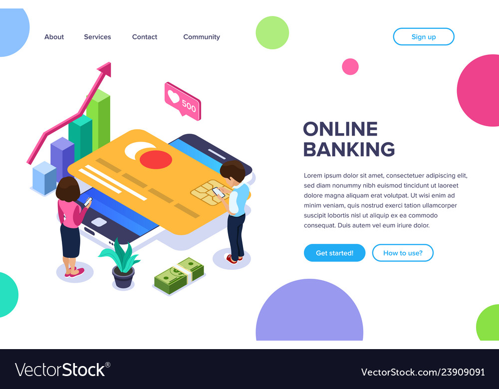 Isometric online banking concept man and a woman