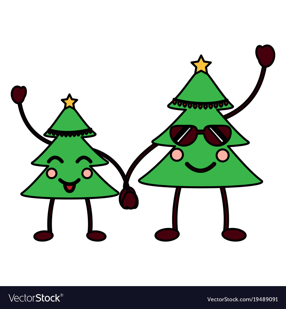 Kawaii christmas tree cartoon happy Royalty Free Vector