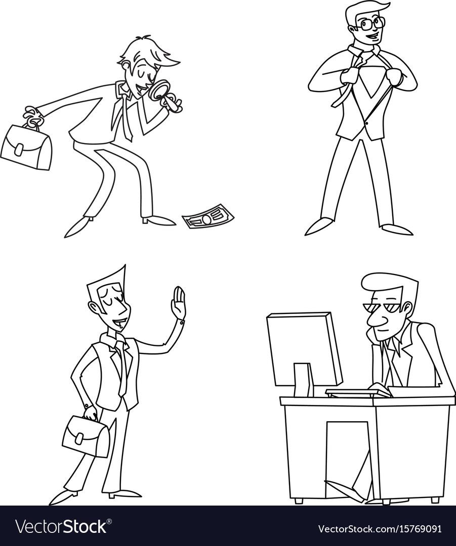 Lineart vintage businessman cartoon characters set