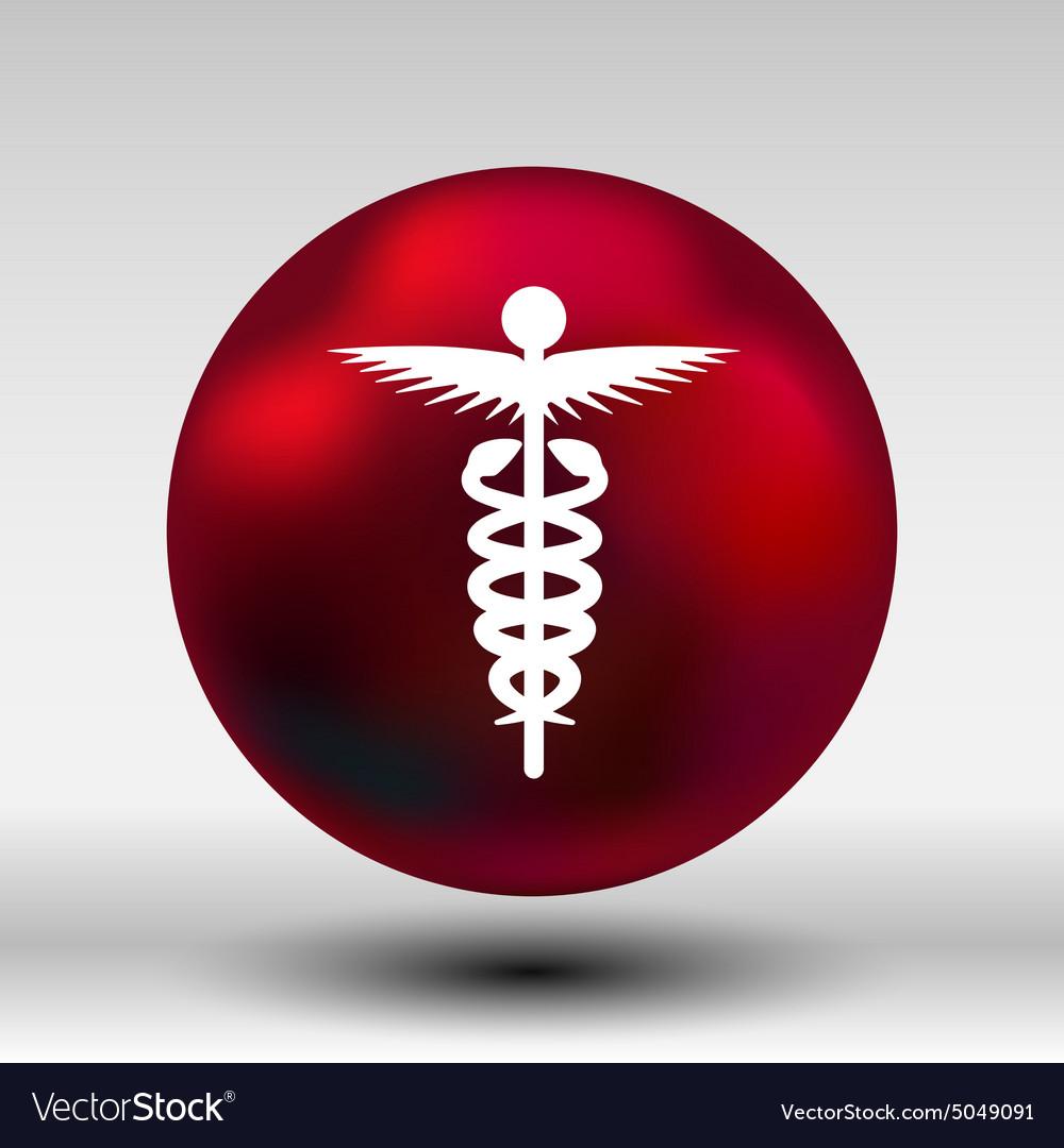 Medicine icon logo symbol snake caduceus doctor vector image