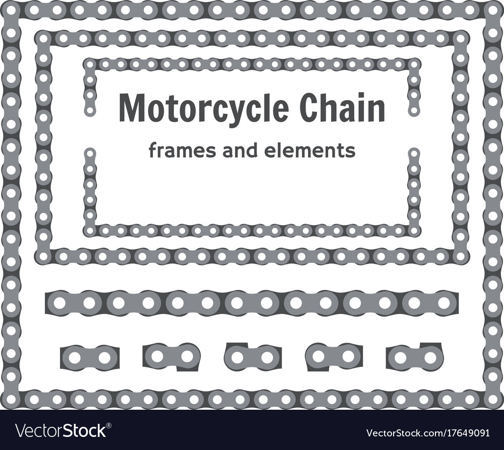 Motorcycle chain frames and elements set Vector Image