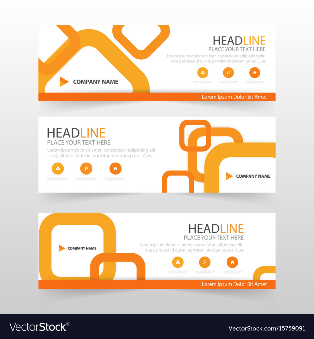 Orange abstract corporate business banner template