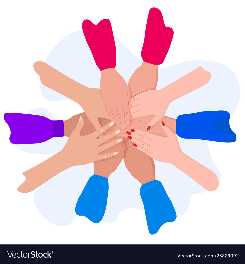 People putting their hands together friends with