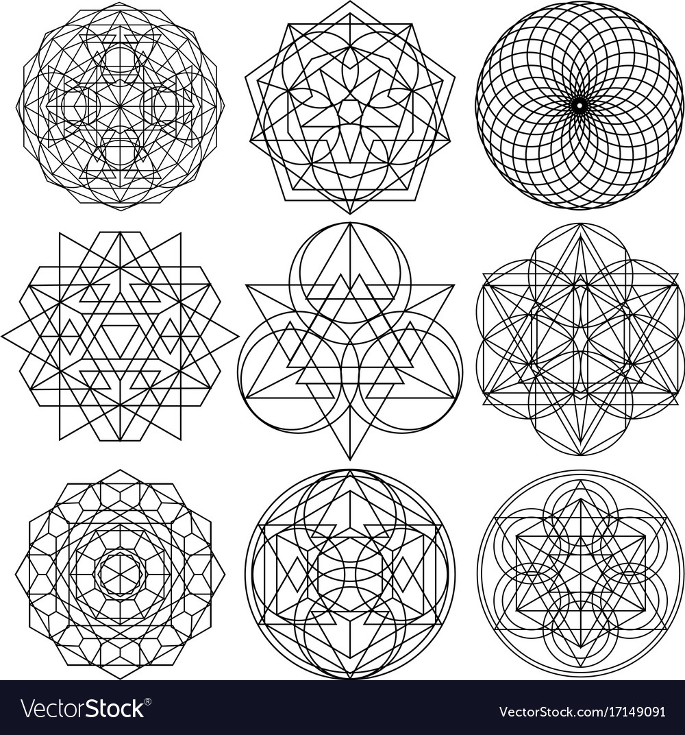 sacred geometry symbols set 03 royalty free vector image