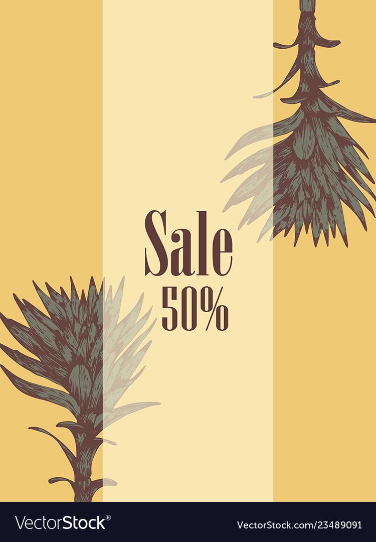 Sale flyer plant hand-drawn