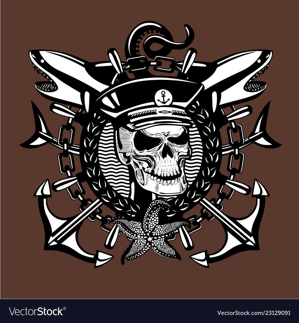 Skull captain vintage style sailor tattoo