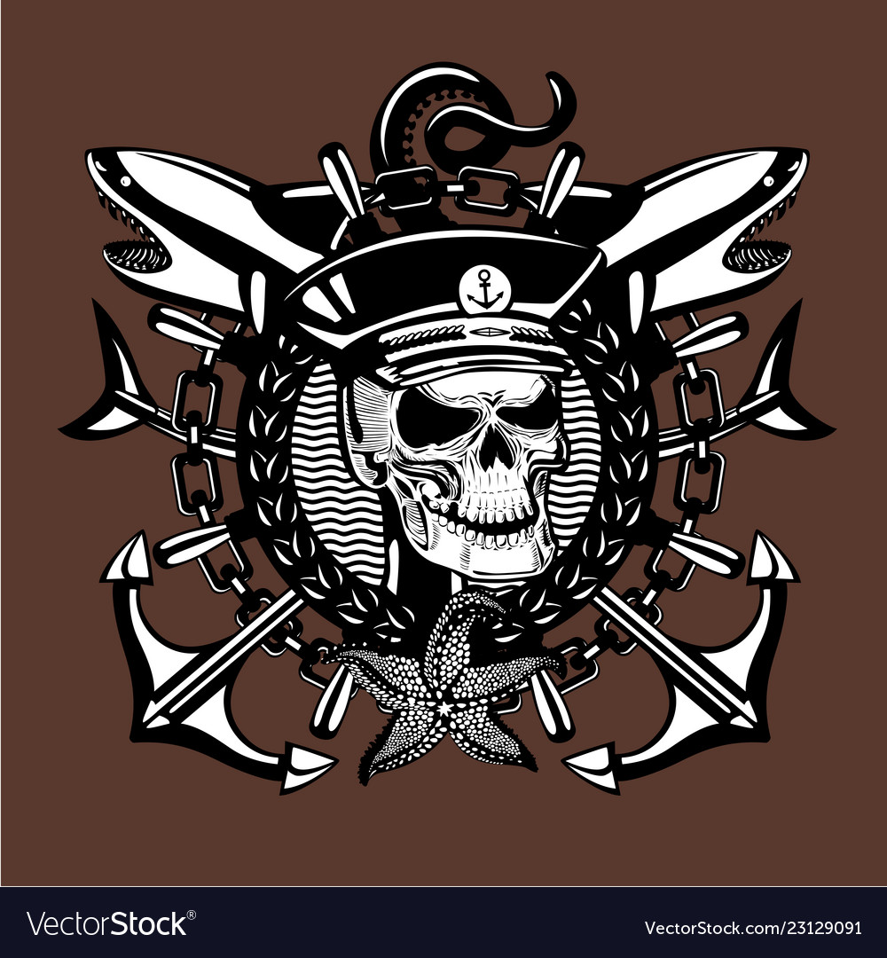 Skull captain vintage style sailor tattoo with